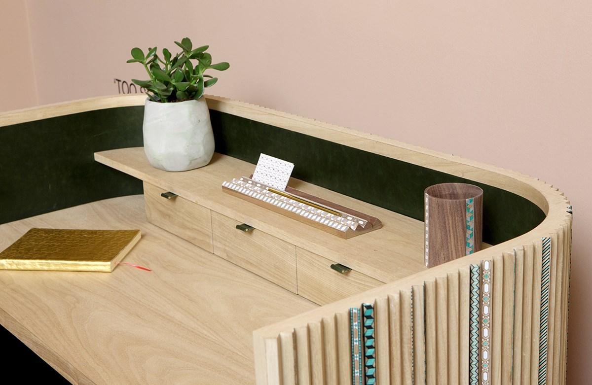 Pleated Secretaire desk