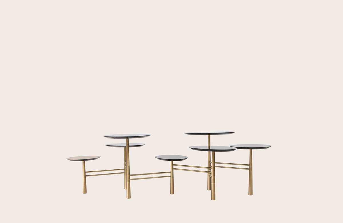 Pebble Low Table black/brass