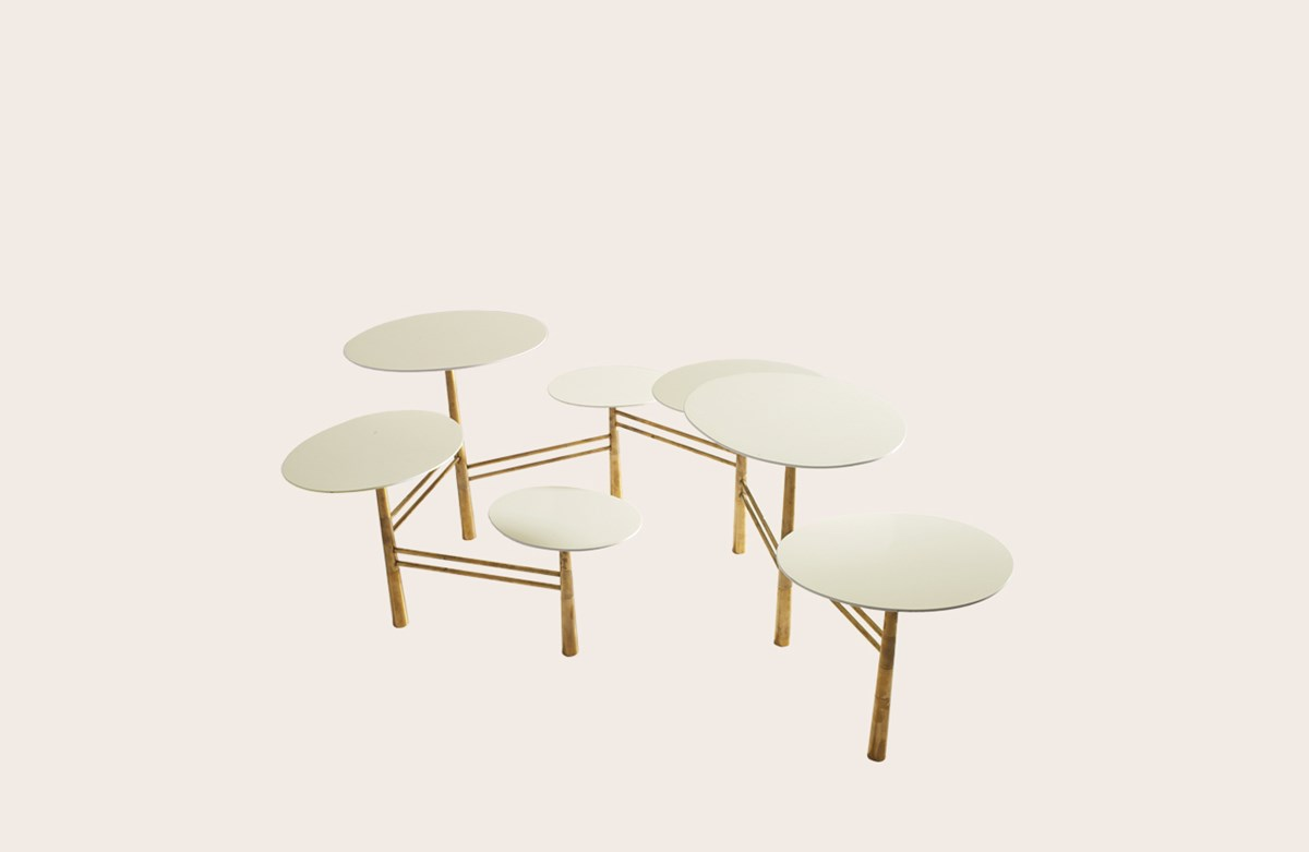 Pebble Low Table white brass