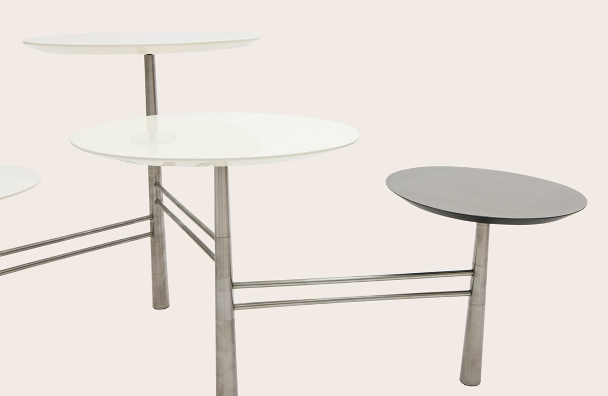 Pebble Low Table White steel